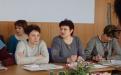 Профсоюзные коллеги: Н.А. Смирнова (Должанский район), Л.М. Гриценко (Урицкий район), М.Н. Ефимова (Покровский район) на семинаре-совещании в обкоме Профсоюза